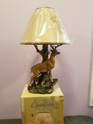 Incroyable Wildlife Nature 12 Point Whitetail Deer Buck Desktop Table Lamp W/ Nature  Shade