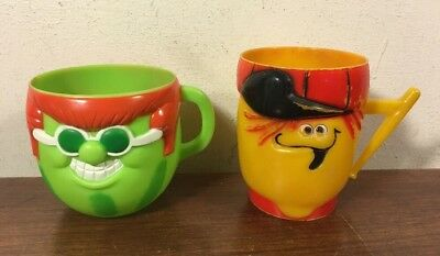 2 Vintage F & F Mold Pillsbury Plastic Funny Face Mug Cup Lefty Lemon Watermelon