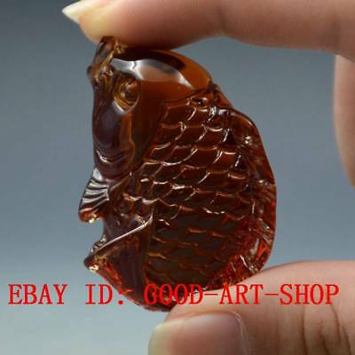 16.3g 100% Natural Blood Red Burmite Amber Stone Hand-carved Fish Pendant G32