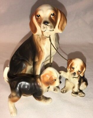 Vintage Ceramic Dog With Puppies Chain Leash Figurine Japan Very Good