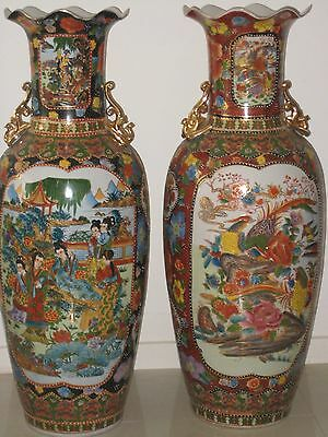 A - 1 chinses 2 vase porcelain graved in gold & lot of colour used has marks