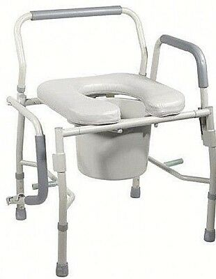 Bedside Commode Toilet Chair Steel Safety Drop Arms Adult Portable Potty Seat
