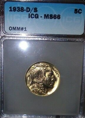1938-D/S 5C Buffalo Nickel. ICG Graded MS 66 Gem