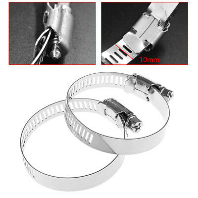 """1-3/8""""- 2"""" Adjustable Stainless Steel Drive Hose Clamp Fuel Line Worm Clip 10Pcs"""