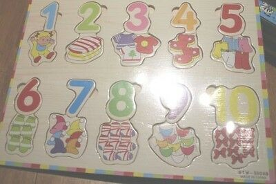 New Wooden Number Education Puzzle - Numbers 1-10 Counting