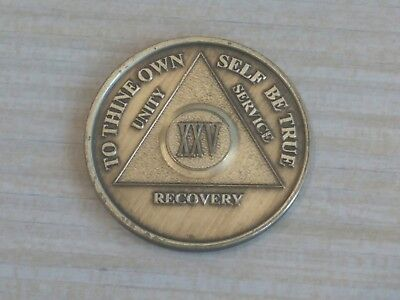 Alcoholics Anonymous 25 Year Recovery Coin Chip Medallion Medal Token AA Bronze