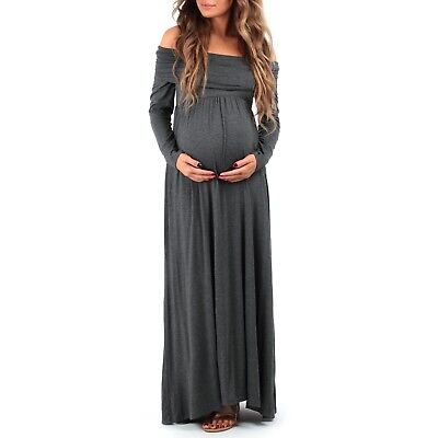 NWT! Mother Bee Maternity XL Cowl Neck/Over Shoulder Maxi Dress Retail $50 Gray