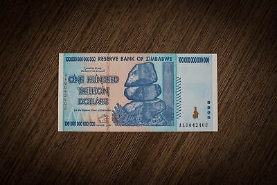 Authentic, Uncirculated Zimbabwe 100 Trillion Dollars 2008 Banknotes