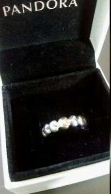 Authentic Pandora Sterling silver Gold Heart ring Size 52