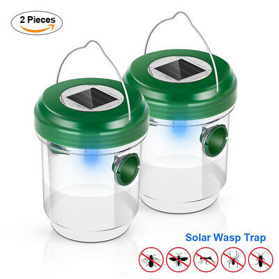 2pcs Wasp Trap Catcher Outdoor Solar Fly Ultraviolet LED Light Waterproof Bees