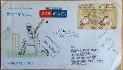 Bangladesh cricket cover World Cup 1992 registered airmail