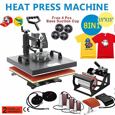 "Heat Press Machine 15""X15"" 8 in 1 Dual Digital Transfer Sublimation T-Shirt Mug"