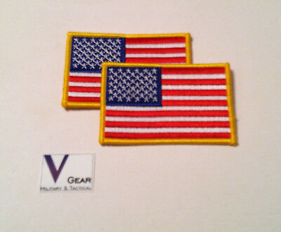 "USA US American Flag Uniform Patch  GOLD 3.5"" x 2.25"" LOT of 2"