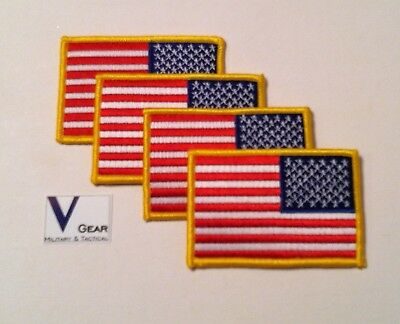 """USA US American Flag Uniform Patch REVERSE FACING GOLD 3.5"""" x 2.25"""" LOT of 4"""