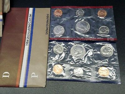 1984 US MINT SET 10 UNCIRCULATED BU COINS IN MINT CELLO P+D ☆1 Set from Lot☆