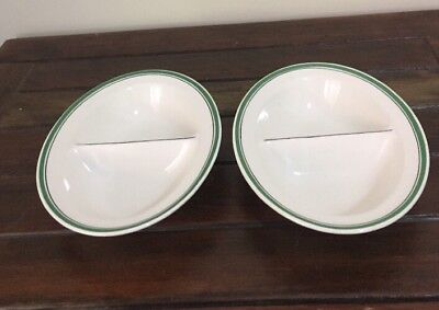 2 Divide Bowls Maddock Royal Virtuous England Oval Shaped Excellent Condition