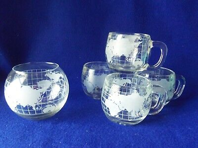 Vintage Nestle World Globe Coffee Mugs Set of 4 plus Candle Globe