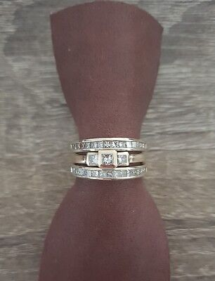 Diamond engagement wedding and eternity ring set