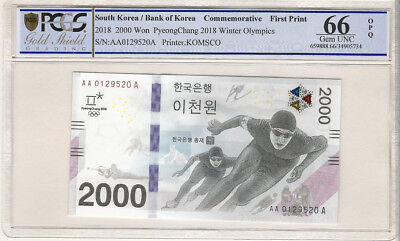 Korea 2017 Pyeong Chang 2018 Witer Olympic 2000 Won 0129520 PCGS 66 First Print