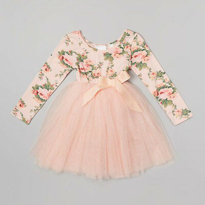 Floral Baby Girl Kid Party Princess Tutu Pageant Dress Lace Bowknot Dresses 1-6Y