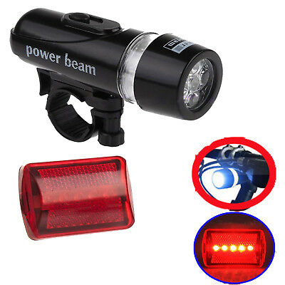 Bike Light Head + Rear Safety Alarm Set Bicycle Cycle White Beam 5 LED Lamp NEW