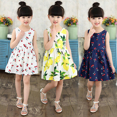 UK Summer Toddler Baby Girls Party Dress Cherry Sundress Clothes Age 1-7 Years