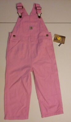 "Girls ""Carhartt"" Pink Overalls Size 3T 100% Cotton"