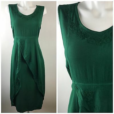 Holy Clothing Monica Empire Embroidered Overlay Dress Womens Large Ren Faire