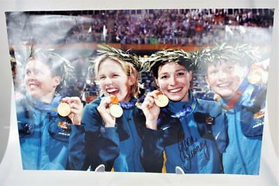 2004 Olympics Australia Photo Swimming Relay Team Gold Medal Signed Giaan Rooney