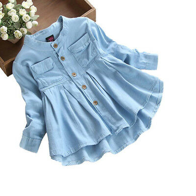 US Kids Baby Girl's Long Sleeve Blouse Denim Ruched T-Shirt Tops Shirts Clothes