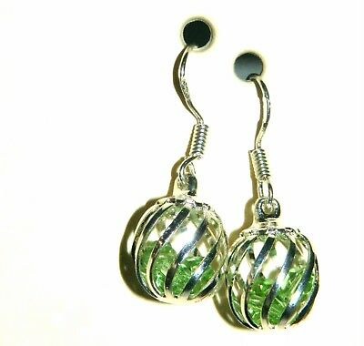 August's Birthstone Caged Green Crystal Dangle Earrings + Sterling Silver Hooks