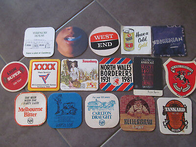 Bar Coasters x 16, Beer Brands, Vintage Double Sided Mancave Drink Mats