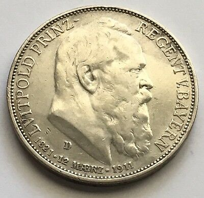 1911-D German State Bavaria 3 Marks Silver Coin 90th Birthday Luitpold (S408)