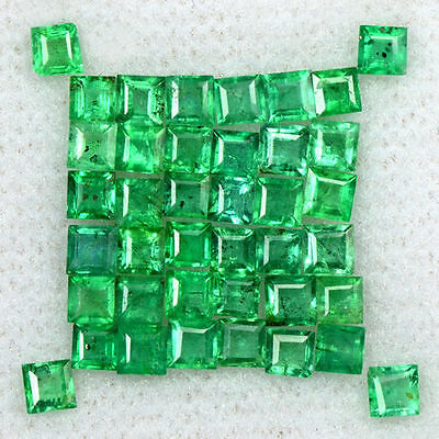 2.57 Cts Natural 2 mm Emerald Lovely Gemstone Top Green Square Cut Lot Zambia $
