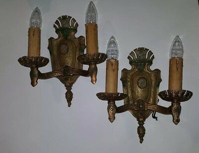 pair of 2 antique Bronze &  brass electric wall fixture sconces midevil Heavy