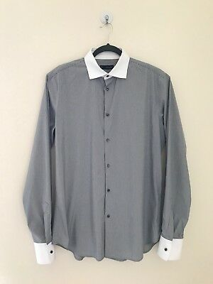 8e20563b Dsquared Mens Long Sleeve Black White Dress Shirt Slim Fit Size 54 Made In  Italy