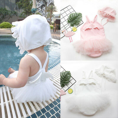 Newborn Kids Baby Girls Angel Wings Romper Party Lace Dress Clothes Outfit