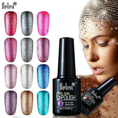 Belen 10ml Nail Gel Polish Soak Off Platinum Shimmer Bling Colors Base Top Coat
