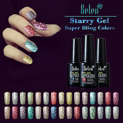Belen Super Bling Starry Gel Polish UV LED Soak off Nail Art Top Base Coat 10ml
