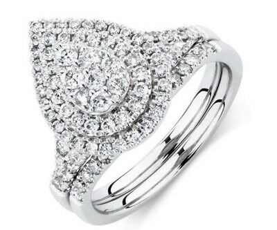 Michael Hill White Gold & Teardrop / Pear Diamond Bridal Set RRP$2,999