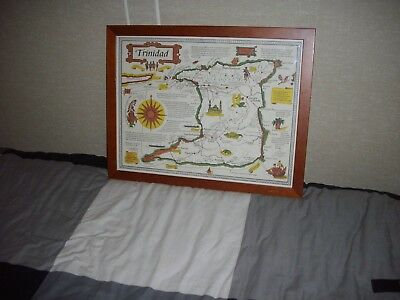 Trinidad Glass Framed Map In Good Condition Size 58 X 45 Cm