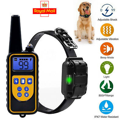 Waterproof Pet Dog Training Collar Rechargeable Electric Shock LCD Display DD