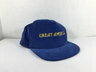 Vintage 1990s Great America Corduroy Blue Yellow Adjustable Snapback Hat Cap 995fffacd095