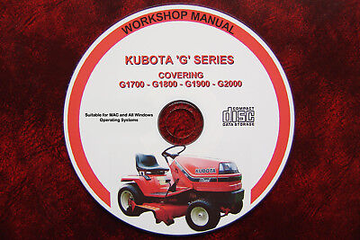Kubota G1700, G1800, G1900 & G2000 Series Tractor Mower Workshop Repair Manual