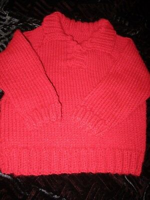 Hand Knitted Boys 22 in Chest Red Aran Jumper 1-2yr old