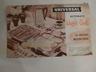 UNIVERSAL WAFFLE IRON FACTORY OWNERS MANUEL from th 1950's