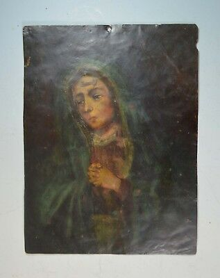 19th century antique Mexican Retablo painting on copper
