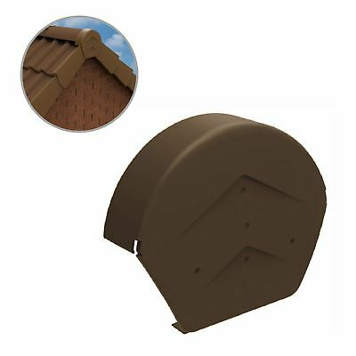 Brown Half Round Ridge End Cap for Dry Verge Systems, Gable Apex Roof Tiles