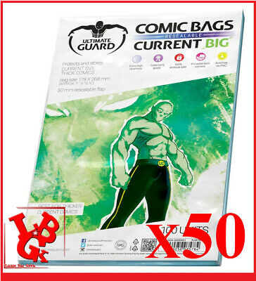 Pochettes Protection CURRENT Size BIG REFERMABLES comics VO x 50 Bags #NEUF#