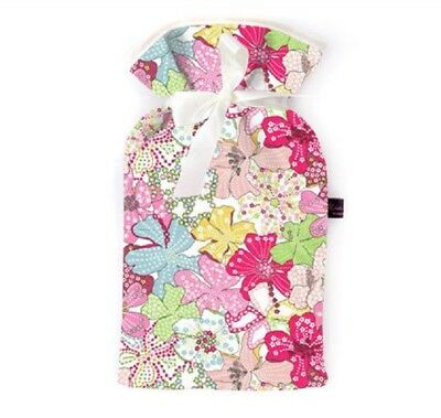 Famous Liberty London Fabric Mauvey Pink Floral Print Padded 2L Hot Water Bottle